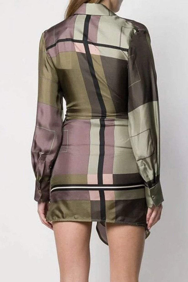 Jessica Bara Tommy V Neck Geometric Print Mini Dress