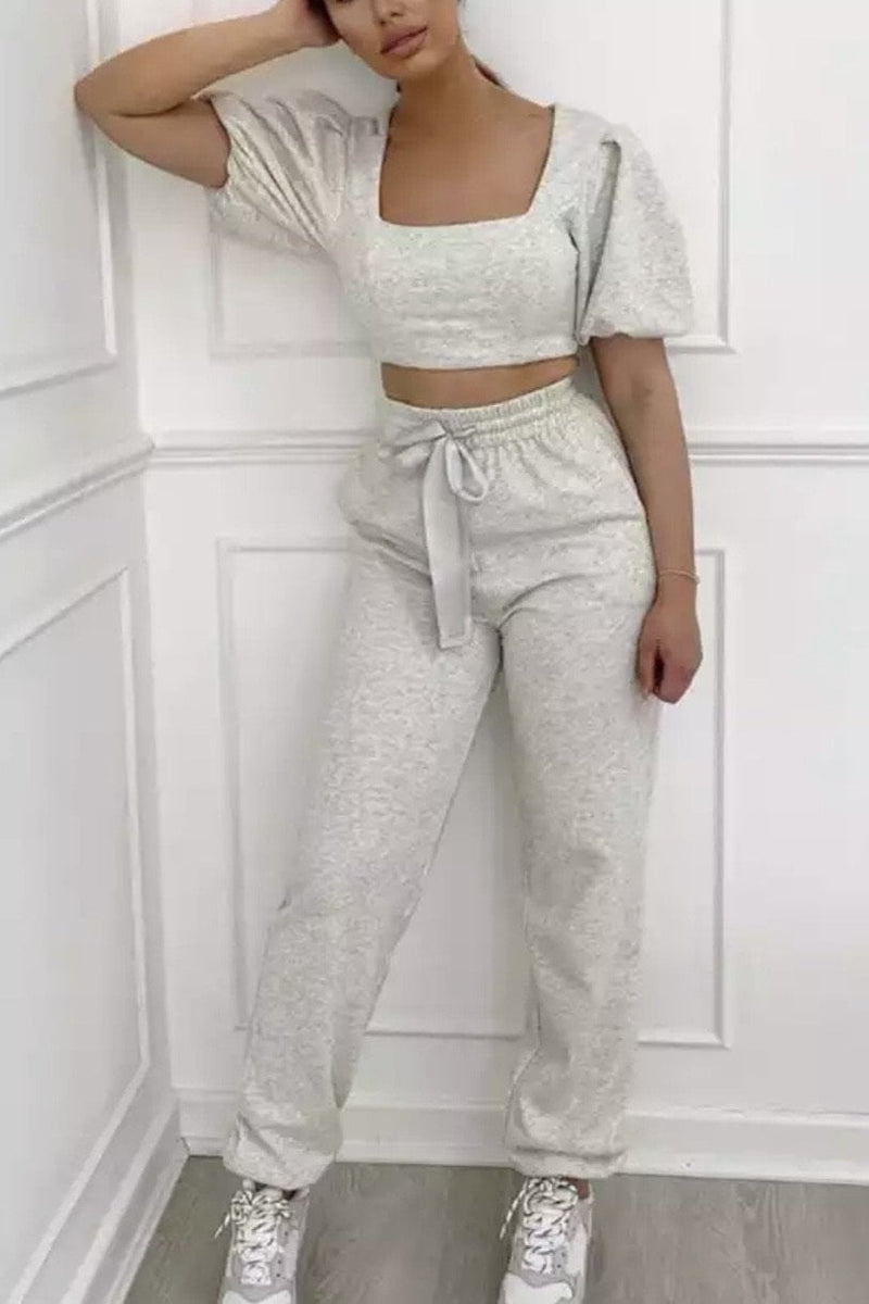 Jessica Bara Johanna Crop Top And Jogger Two Piece Set