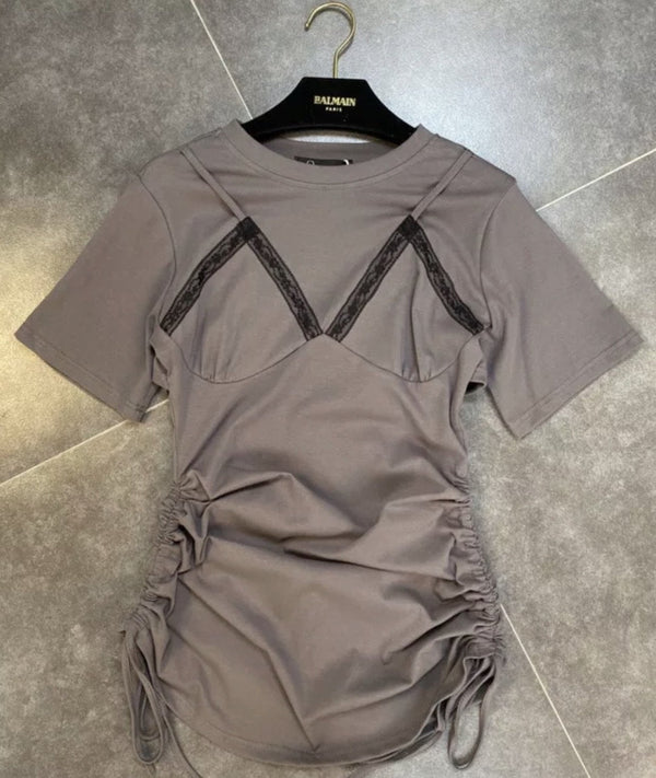 Jessica Bara Solange Short Sleeve Ruched Mini Dress