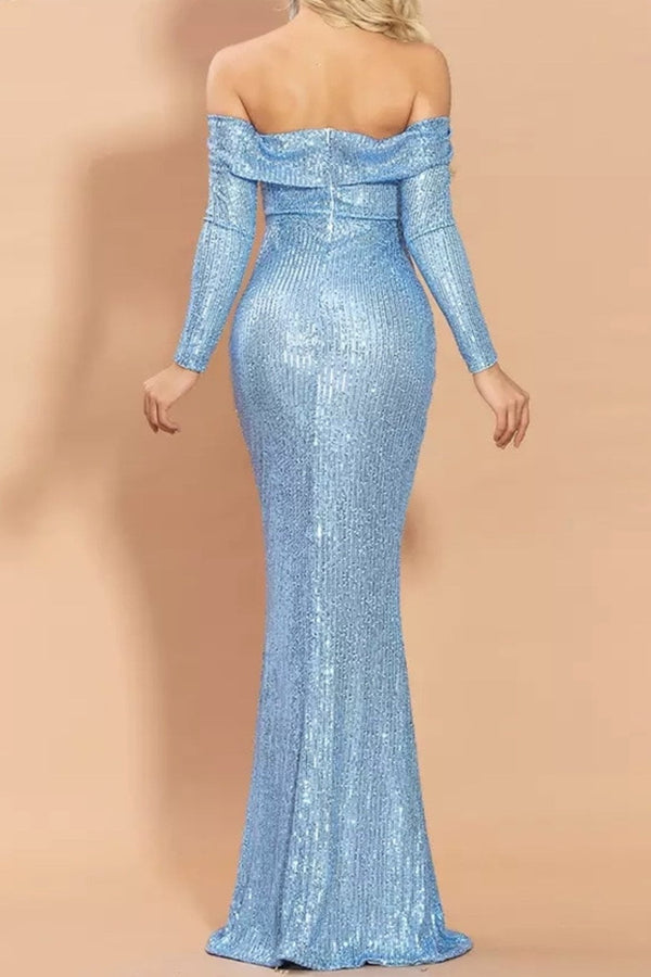 Jessica Bara Jackie Off the Shoulder Sequin Bodycon Gown