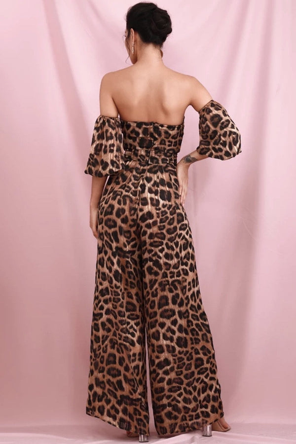 Jessica Bara Draya Leopard Off The Shoulder Jumpsuit