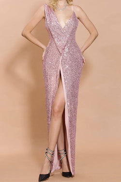 Jessica Bara Christina Sequin Slit Gown