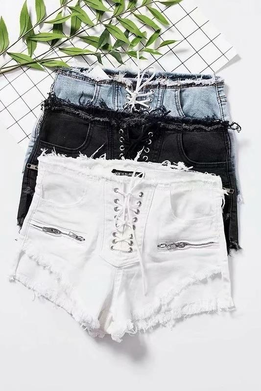 Jessica Bara Queenie Lace Up Denim Shorts