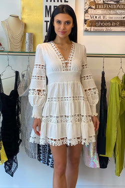 Jessica Bara Violy Floral Crochet Long Sleeve Mini Dress