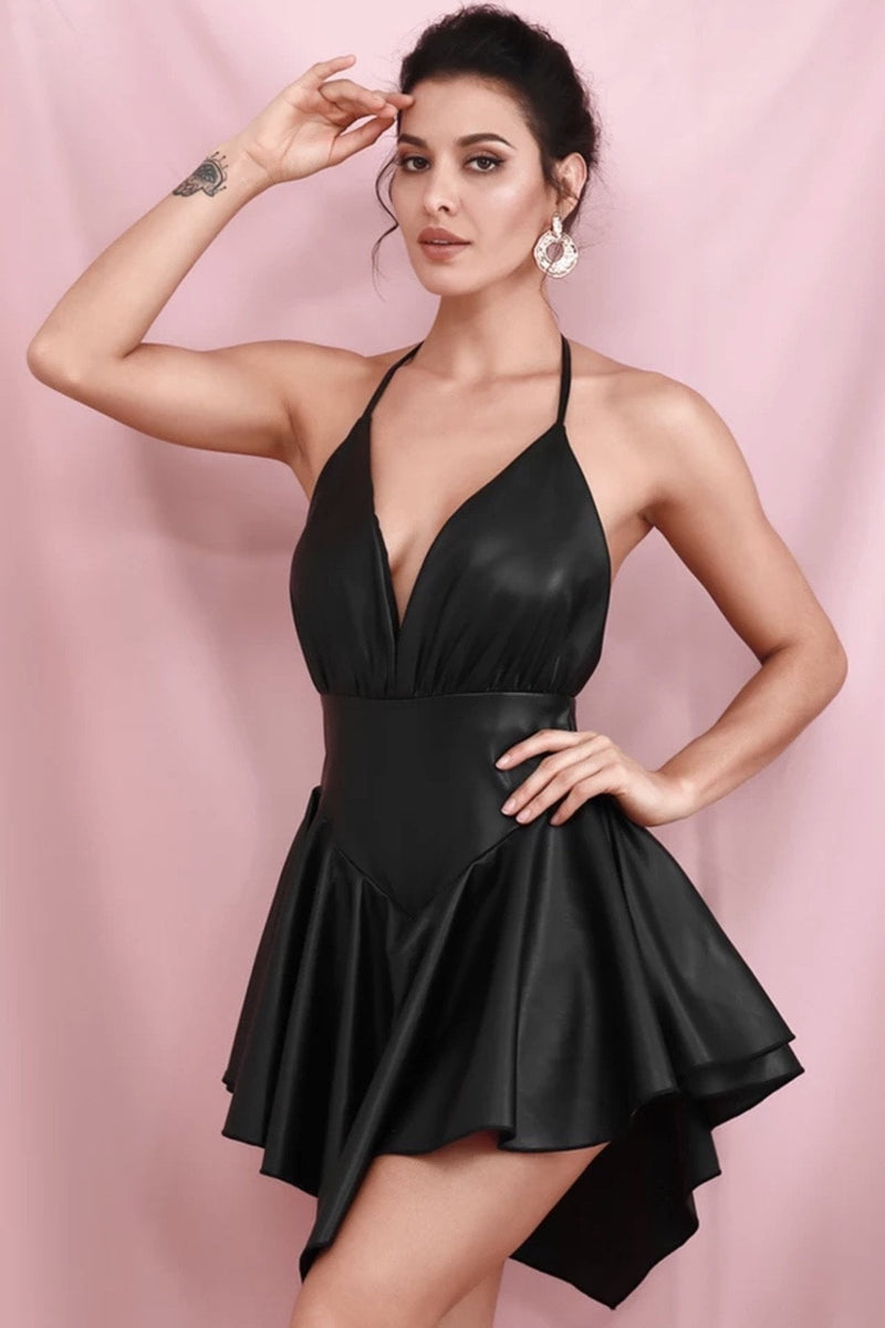 Jessica Bara Toni PU Backless Ruffle Mini Dress