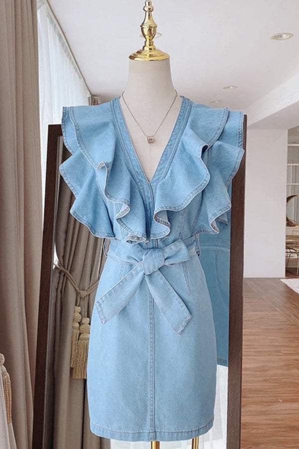 Jessica Bara Dallan Denim Ruffle Mini Dress