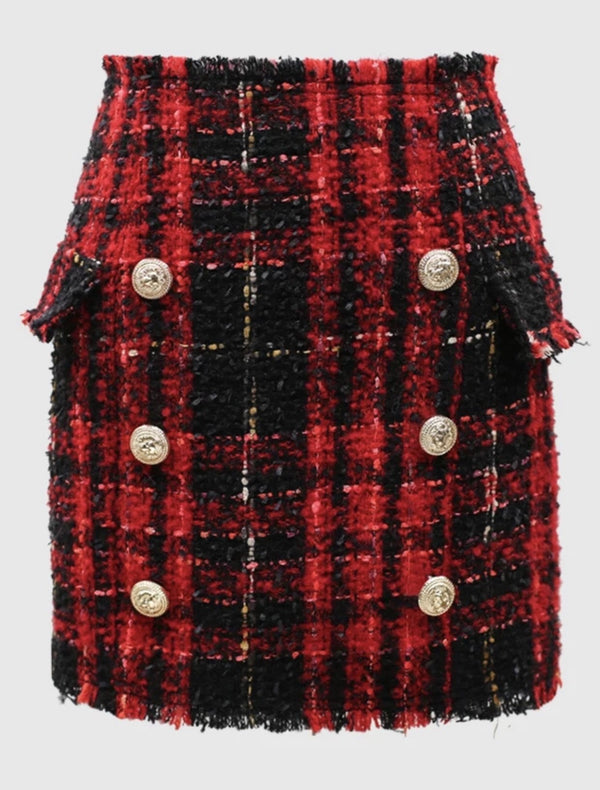 Jessica Bara Edalene High Waisted Tweed Gold Button Mini Skirt