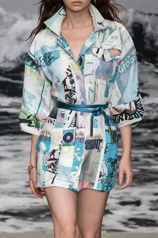 Jessica Bara Taya Printed Shirt Dress