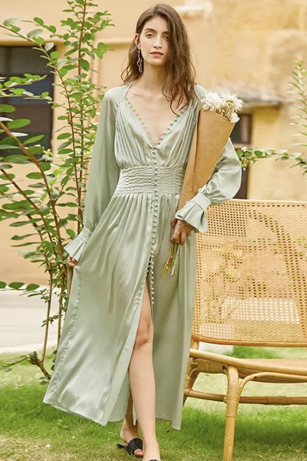 Jessica Bara Ethan Long Sleeve V Neck Maxi Dress