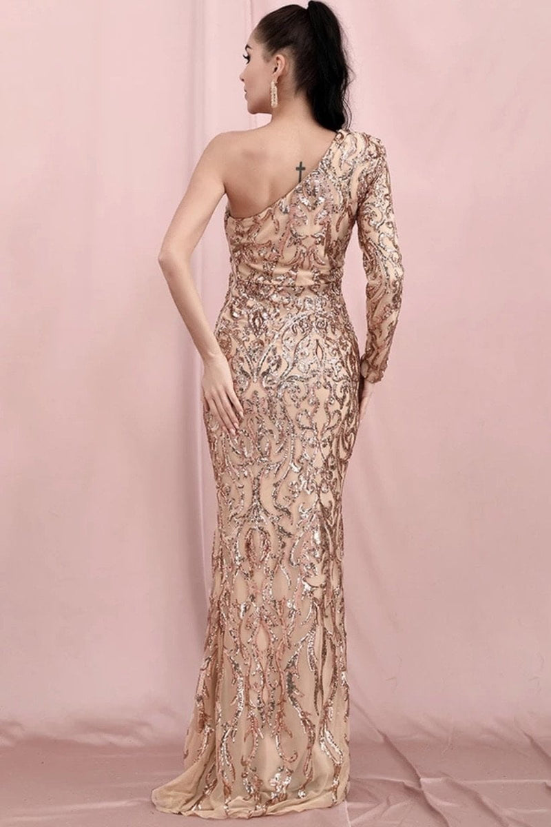 Jessica Bara Eliana One Shoulder Sequin Bodycon Gown