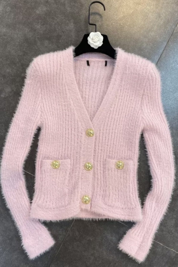 Jessica Bara Dakota Long Sleeve Fuzzy Cardigan
