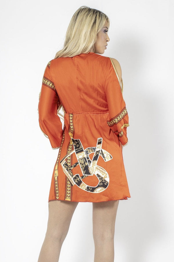 Baccio Silk Long Sleeve Chain Print Mini Dress