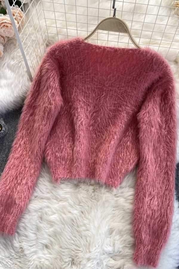 Jessica Bara Kellen Long Sleeve Fuzzy Chain Top
