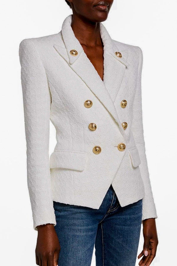 Jessica Bara Colette Double Breasted Gold Button Blazer