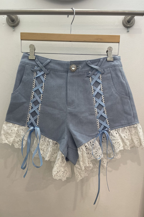 Jessica Bara Lacy Lace Up Frilly Denim Shorts