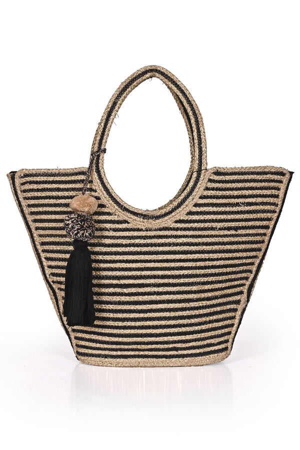 America And Beyond Striped Straw Tote