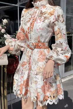 Jessica Bara Rocco Long Sleeve Floral Belted Mini Dress