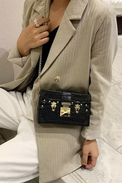 Jessica Bara Maria Faux Leather Croc Crossbody