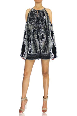 Colors Of Fashion Snakeskin Drawstring Romper