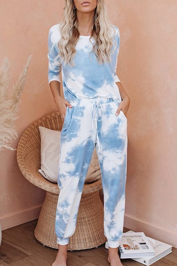 Jessica Bara Piper Tie Dye Top and Jogger Two Piece Set