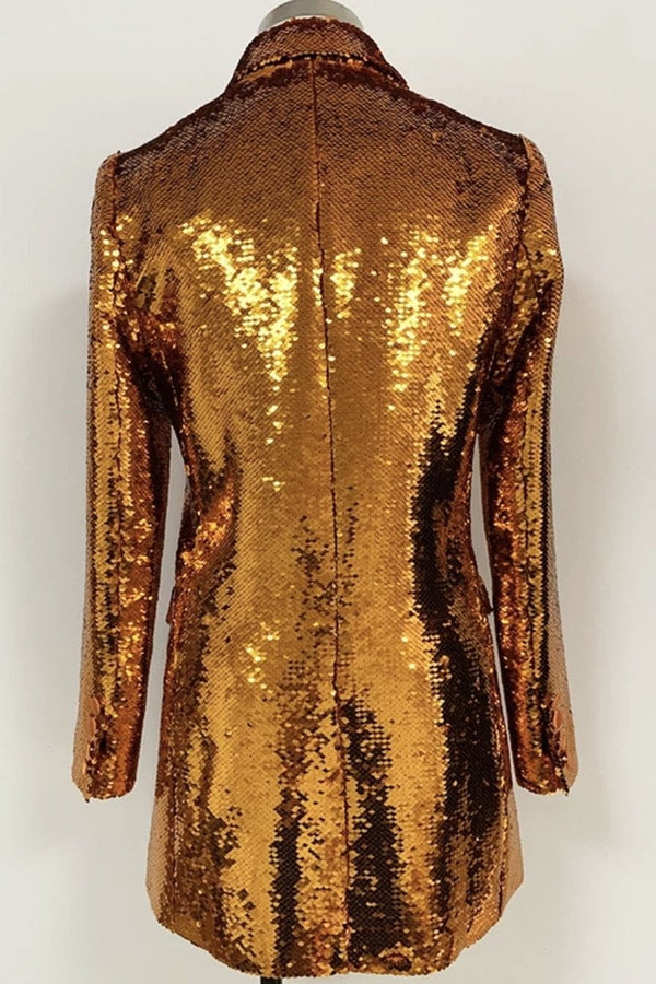 Jessica Bara Jordie Long Sleeve Sequin Blazer Dress