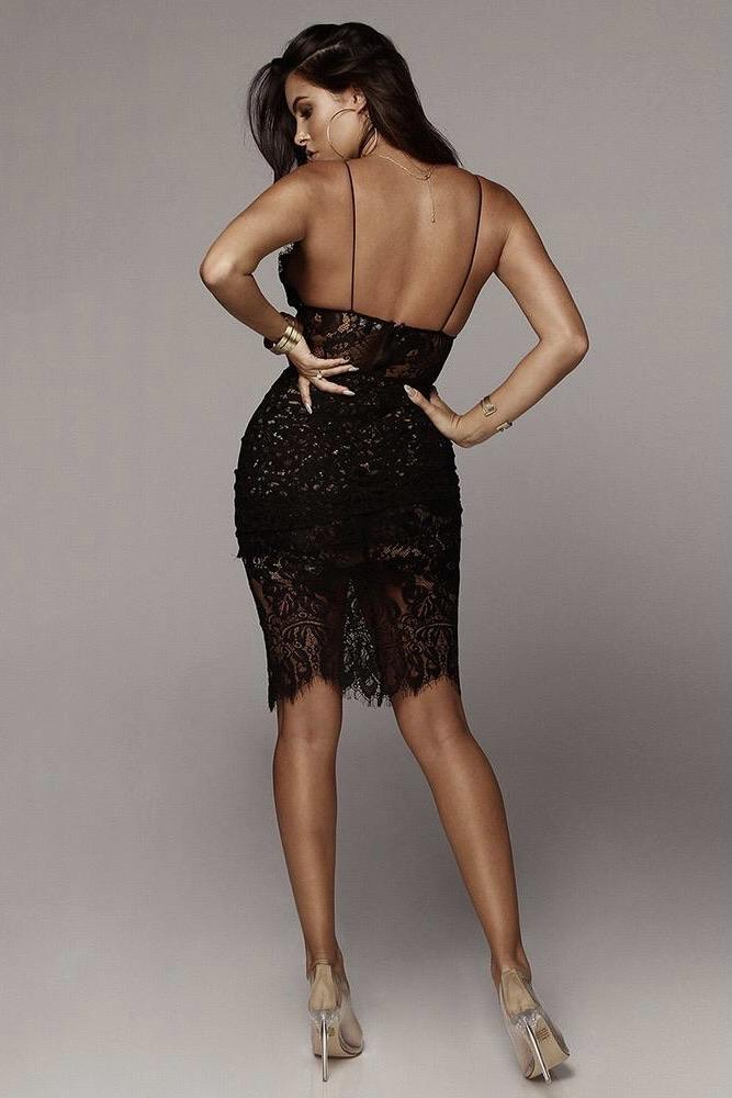 Jessica Bara Natalia Deep V Lace Bandage Dress