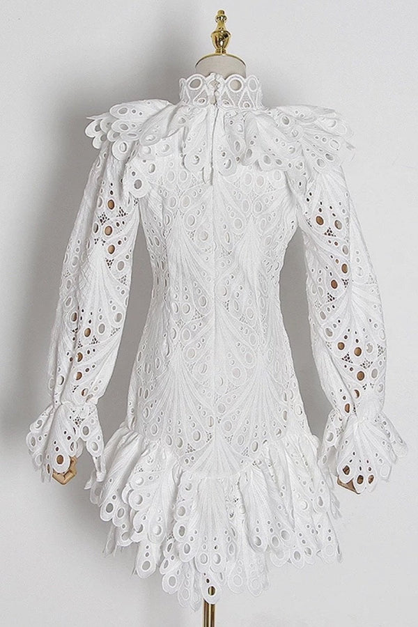 Jessica Bara Adelaide Long Sleeve Embroidered Ruffle Mini Dress