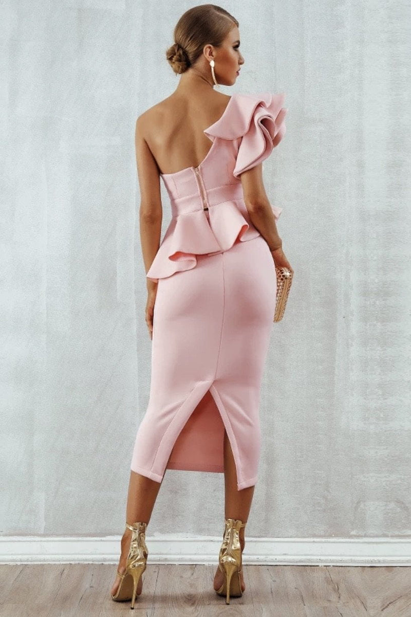 Jessica Bara Emmarie One Shoulder Ruffle Bodycon Two Piece Set