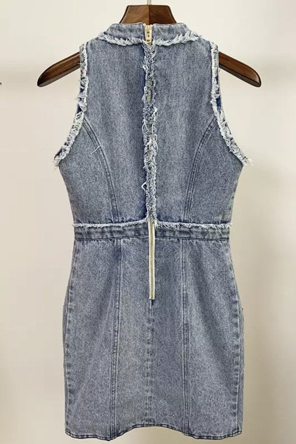 Jessica Bara Jules High Neck Denim Mini Dress