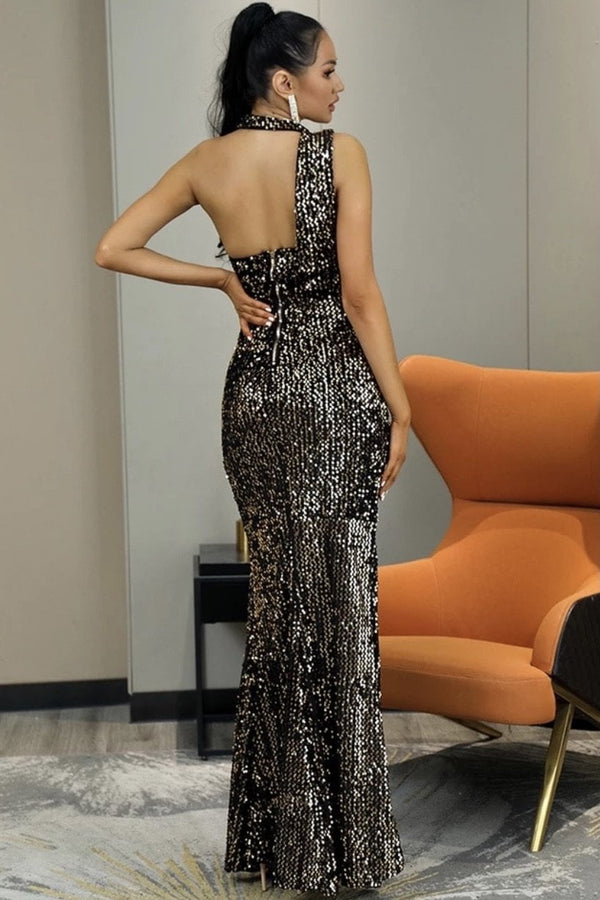 Jessica Bara Laura Strapless Choker Sequin Gown