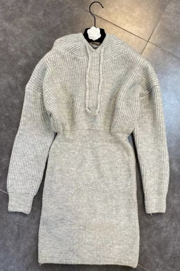 Jessica Bara Claire Long Sleeve Hooded Knit Dress