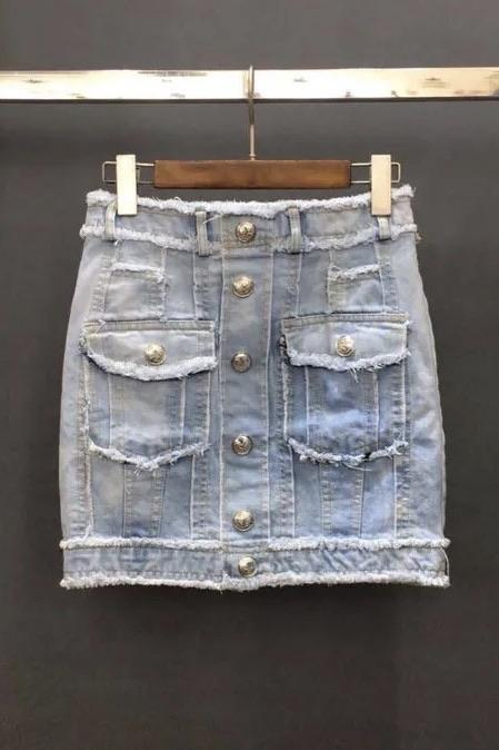 Jessica Bara Harlem High Waisted Distressed Denim Mini Skirt