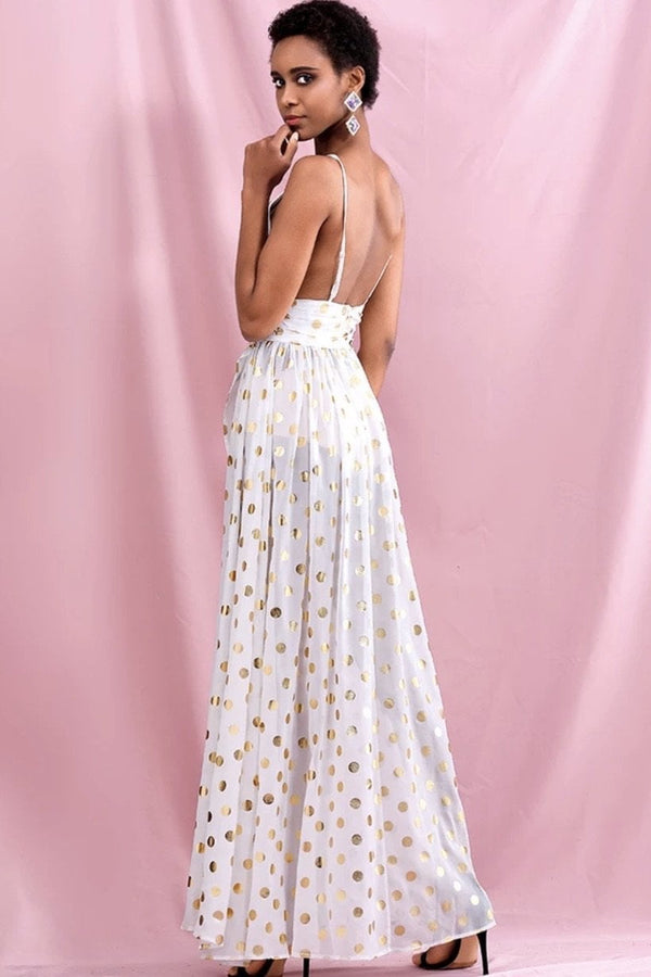 Jessica Bara Caleb V Neck Polka Dot Maxi Dress