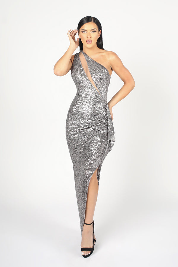 Nicole Bakti One Shoulder Sequin Ruffle Gown