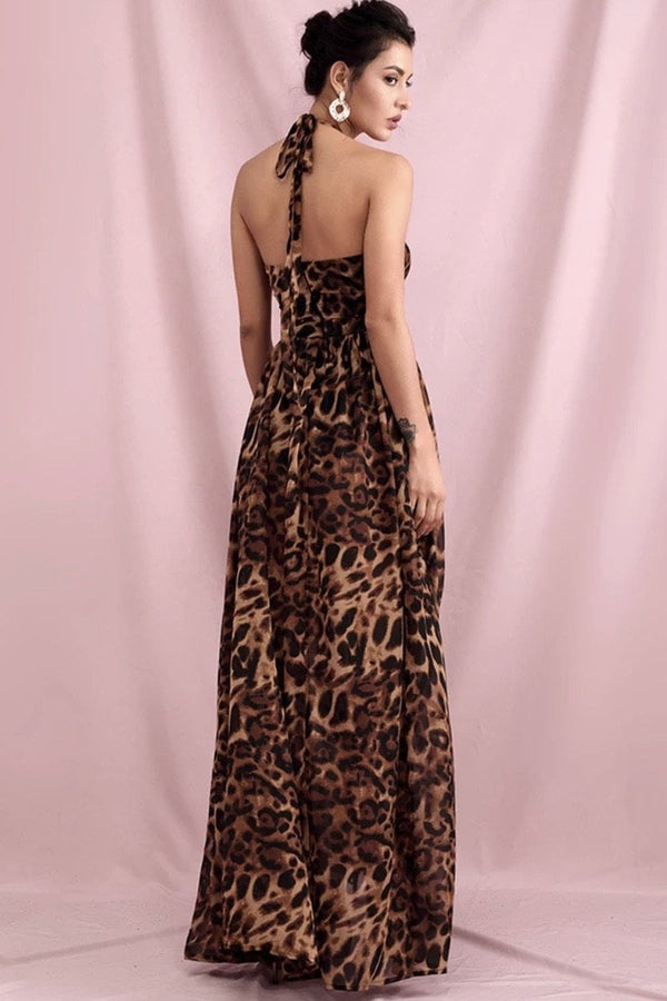 Jessica Bara Priscilla Leopard Cut Out Maxi Dress