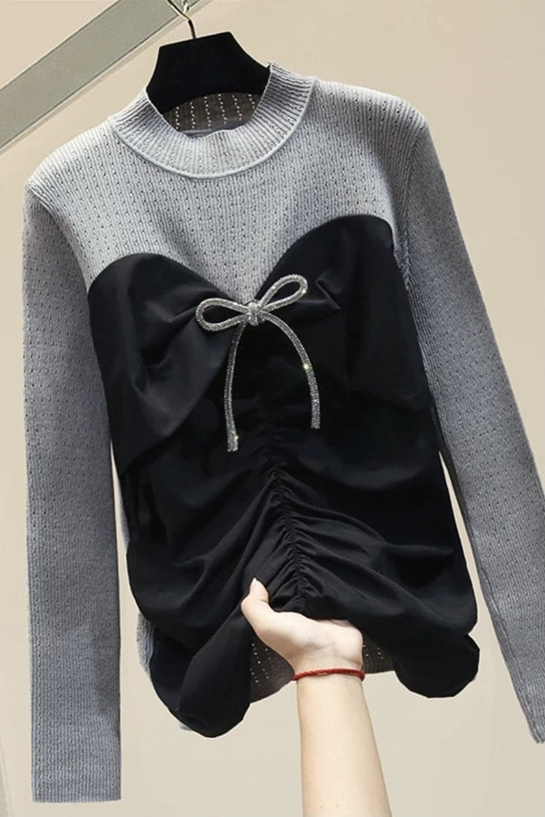 Jessica Bara Keegan Long Sleeve Bow Knitted Top