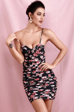 Jessica Bara Stephanie Floral Ruched Bodycon Mini Dress