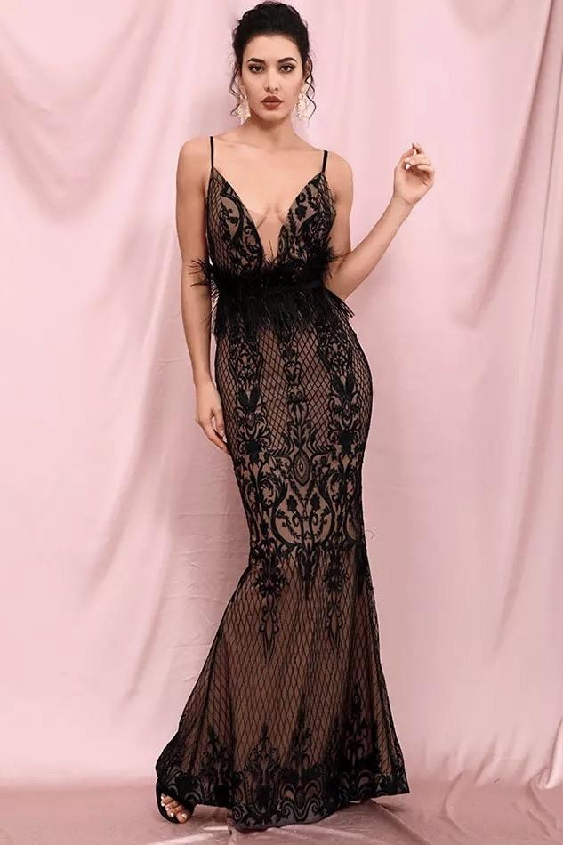 Jessica Bara Chichi V Neck Feather Belt Bodycon Gown