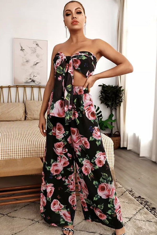 Jessica Bara Zuri Floral Crop Top And Pant Two Piece Set