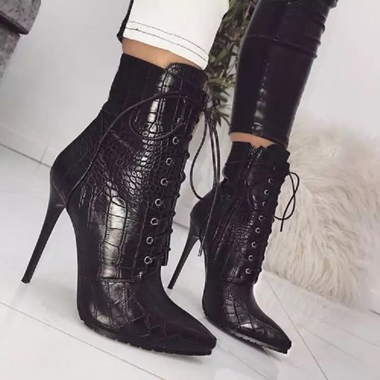 Jessica Bara Logan Snakeskin Leather Lace Up Booties