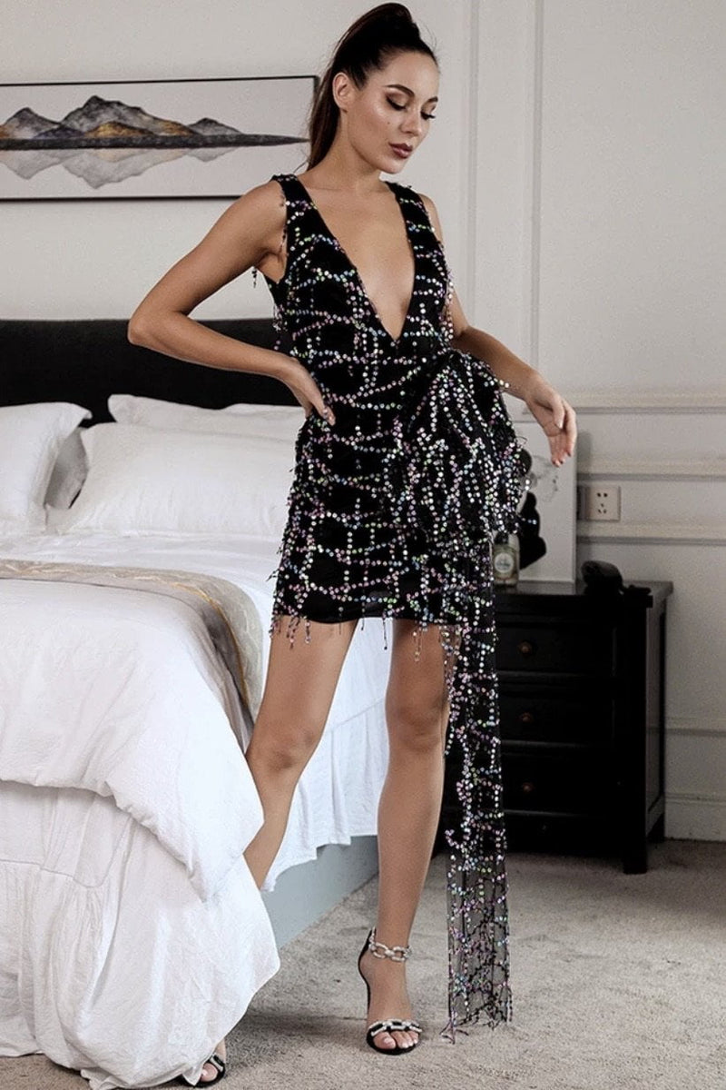 Jessica Bara Charmaine V Neck Sequin Mini Dress