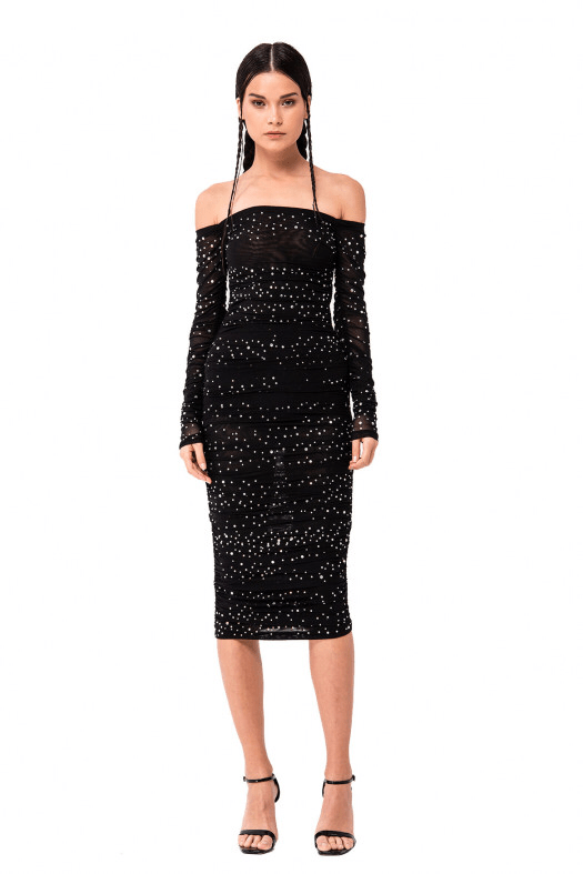 Jessica Bara Nola Ruched Off Shoulder Midi Dress