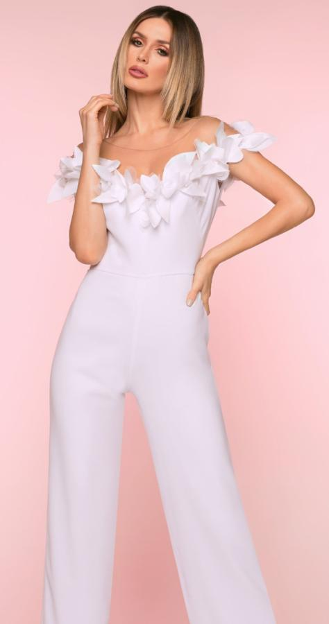 Jumpsuit - Nicole Bakti Off The Shoulder Feather Jumpsuit