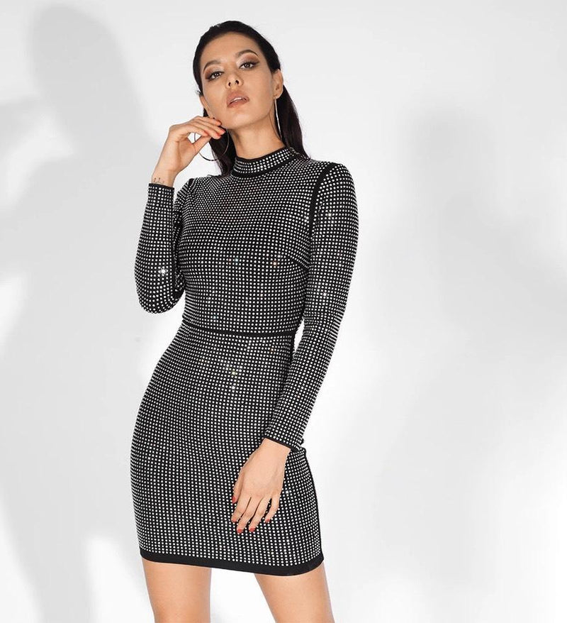 Sale Jessica Bara Kerstin Mock Neck Long Sleeve Dress