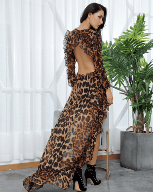 Jessica Bara Lynn Leopard Cut-Out Hi-Lo Long Sleeve Dress