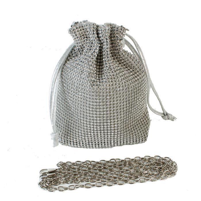 Diane Mesh Rhinestone Shoulder Bag