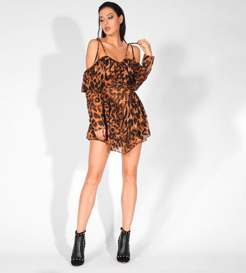 Jessica Bara Naeem Off Shoulder Leopard Playsuit