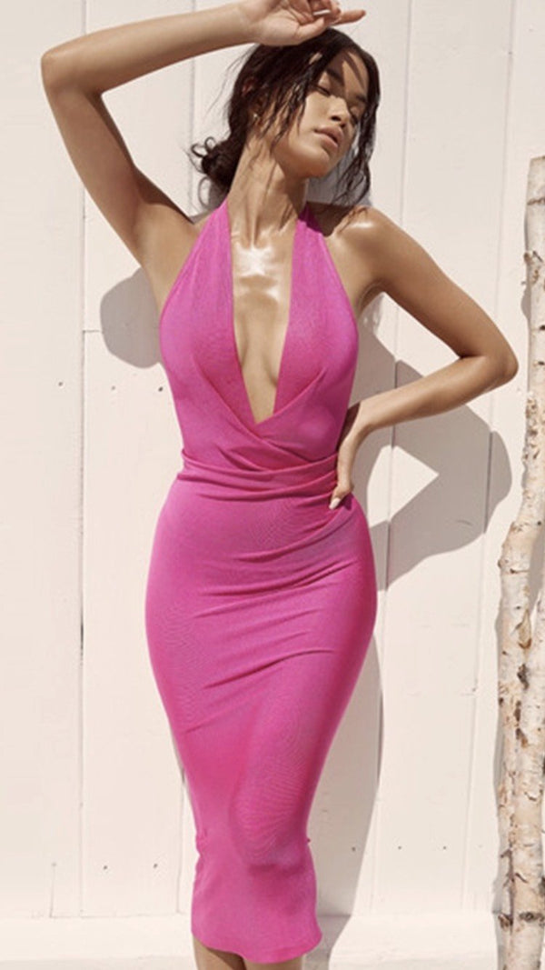 Jessica Bara Shelby Bodycon Halter Midi Dress
