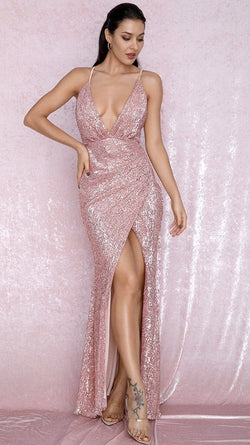 Jessica Bara Rene Rose Gold Sequin Gown
