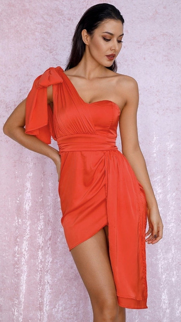 Jessica Bara Margeurite One Shoulder Satin Mini Dress